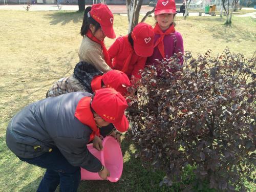 """县实验小学二(3)开展""""拥抱春天 播种绿色 共建三美文成""""植树节活动"""