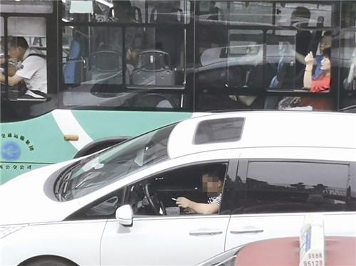 记者蹲守温州人民路观测:30分钟有25名司机开车玩手机